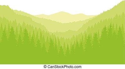 eco, panoráma, hegy., banner.