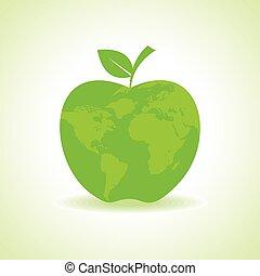 eco, térkép, alma, ikon