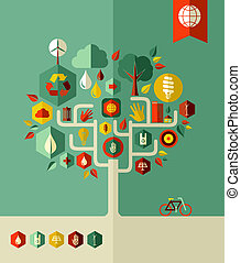eco, város, megőrzés, fa