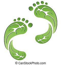 eco, zöld, lábnyomok, levél növényen, indigó