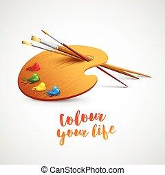 ecset, ábra, művészet, paletta, eszközök, vektor, drawing., festék, ceruza