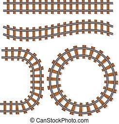 ecset, vektor, sín, vasút, utas, vagy, alapismeretek, korlát, elszigetelt, egyenes, white háttér, kiképez, vasút