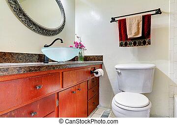 edény, fürdőszoba, hiúság, mosogató, szekrény