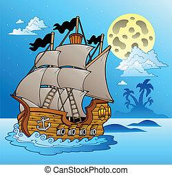 edény, kilátás a tengerre, öreg, éjszaka