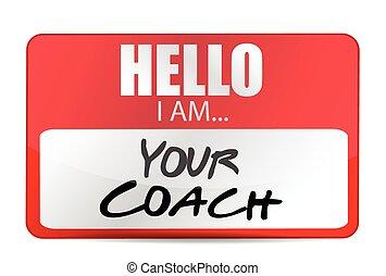 edző, ábra, szia, címke, tervezés, -e