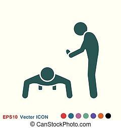 edző, fogalom, autóbusz, vektor, ikon, jel, transzparens