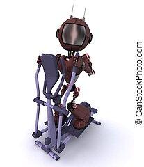 edző, robot emberi külsővel, tornaterem, kereszt