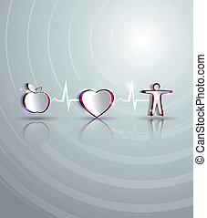 egészségügyi ellátás, design., egészség