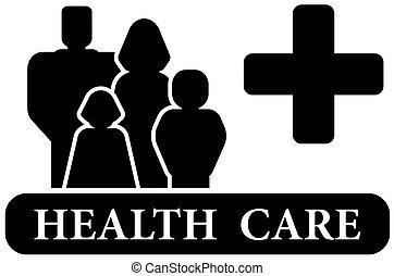 egészségügyi ellátás, fekete, ikon