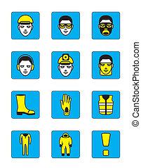 egészség, állhatatos, biztonság, ikonok