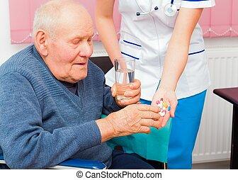 egészség, öregedő, kilép