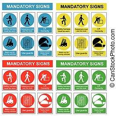 egészség, biztonság, gyűjtés, aláír