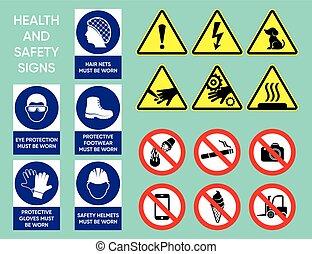 egészség, biztonság, gyűjtés, cégtábla