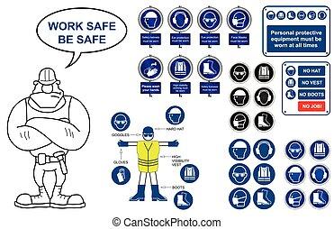 egészség, ikonok, biztonság, cégtábla