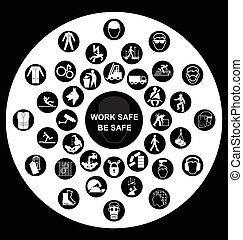 egészség, kör alakú, biztonság, ikonok