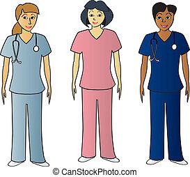 egészség, pros, női, műtősruha