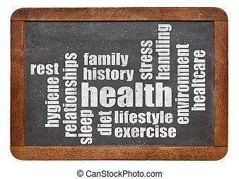 egészség, szó, felhő