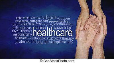 egészség, szó, felhő, törődik