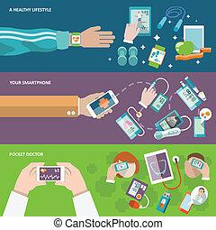egészség, transzparens, digitális