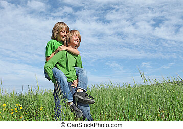 egészséges, boldog, gyerekek, játék, szabadban