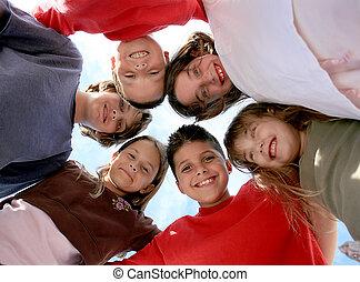 egészséges, boldog, gyerekek, ki, függő