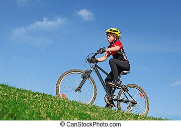egészséges, elnyomott bicikli, egészséges, gyermek