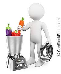 egészséges, emberek., főz táplálék, fehér, ember, processor, 3