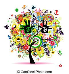 egészséges, energia, fa, tervezés, füvészkönyv, -e