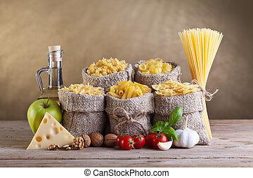 egészséges, főtt tészta, friss, diéta, alkatrészek