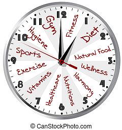 egészséges, fogalmi, élet, óra