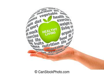egészséges, gömb, életmód