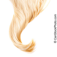 egészséges, haj, fehér, elszigetelt, szőke