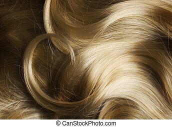 egészséges, haj, szőke