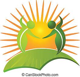 egészséges, jel, élet, vektor, természet