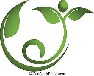egészséges, jel, férfiak, levél növényen, állóképesség