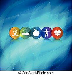 egészséges, jelkép, életmód, háttér