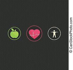 egészséges, jelkép, fogalom, életmód, állhatatos
