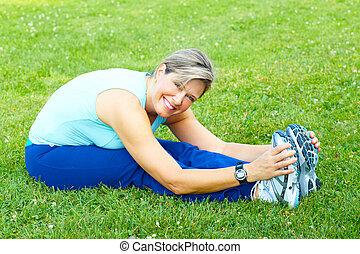 egészséges, lifestyle., állóképesség