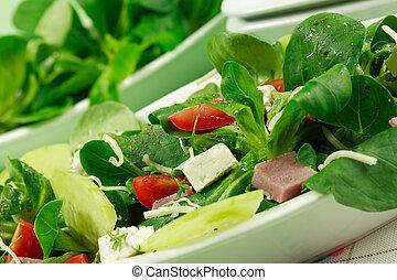 egészséges, mező, salad-, élelmiszer