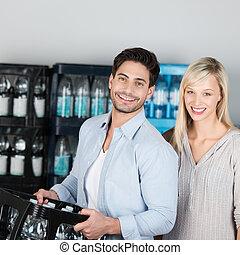 egészséges, párosít, víz, palack, bájos, vásárlás