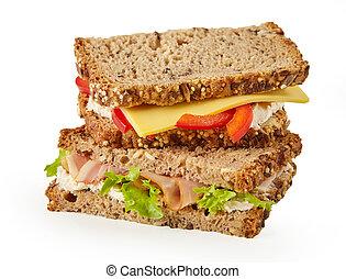 egészséges, sajt szendvics, wholegrain, hús