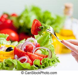 egészséges táplálék, étkezési, saláta, friss