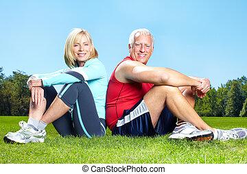 egészséges, tornaterem, lifestyle., állóképesség
