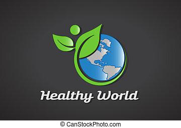 egészséges, világ, jel