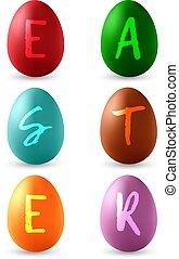 eggs., állhatatos, színes, elszigetelt, háttér., vektor, fehér, húsvét