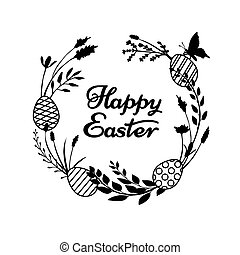 eggs., koszorú, húzott, virágos, kaszáló, ágacskák, füvek, elkészített, kéz, vektor, boldog, elágazik, silhouettes., köszönés, botanikai, húsvét, kártya, mező, menstruáció