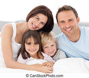 együtt, család, bájos, ülés