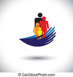 együtt, &, graphic-, árnykép, lány, anya, család, fiú, látszik, kézbesít, fogalom, vektor, atya, children., pálma, ikonok, ábra, oltalmaz, szülők