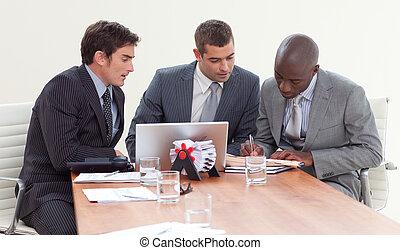 együtt, gyűlés, dolgozó, businessmen