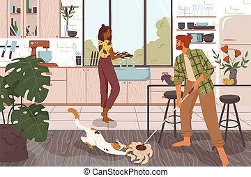 együtt, házimunka, takarítás, család, kényelmes, kitchen., nő, karikatúra, furcsa, vektor, mosás, párosít, ember, emelet, belföldi, edények, épület, illustration., háztartás, koszos, gyártás, chores.